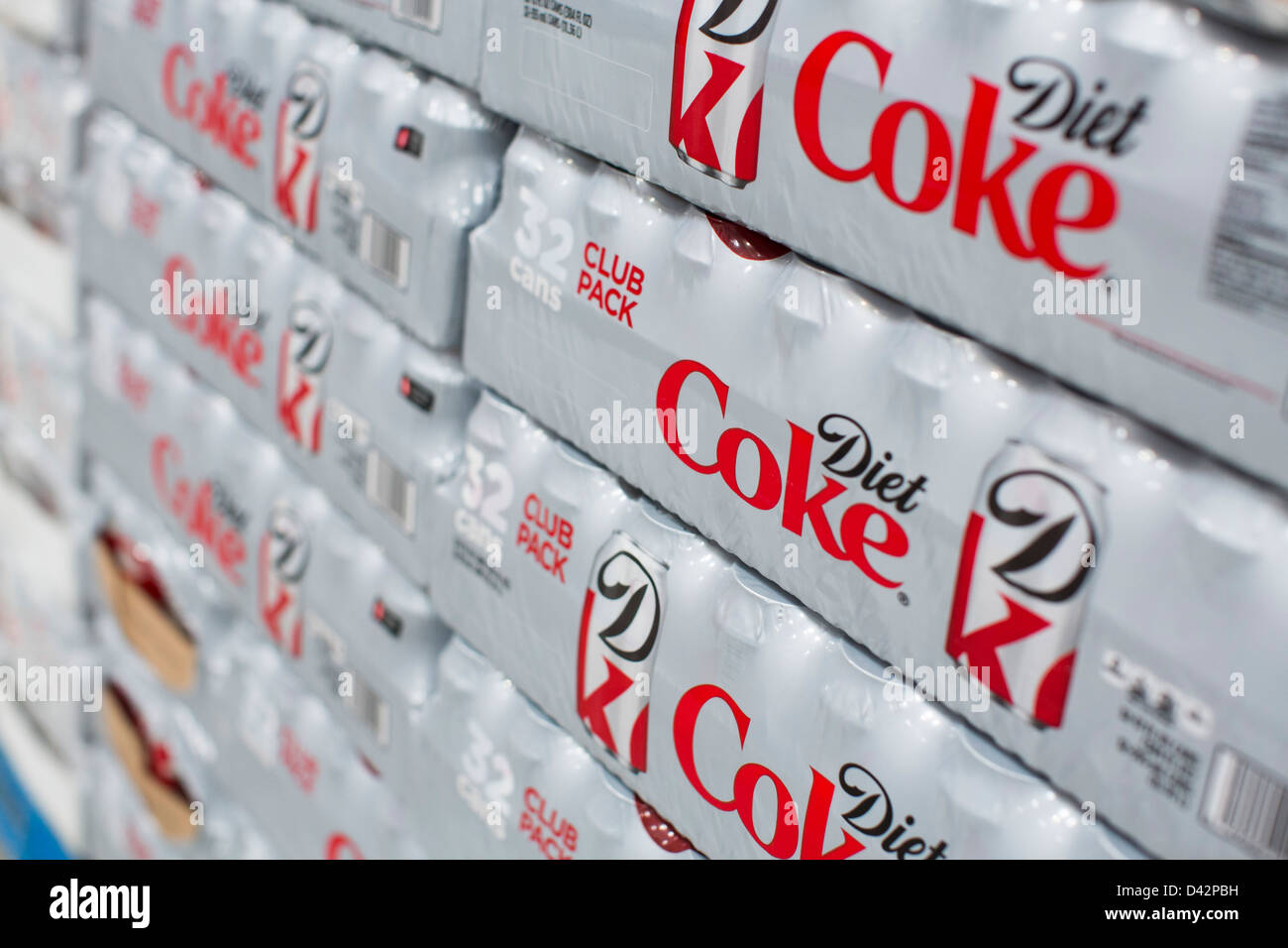 Diet coke on display at a Costco Wholesale Warehouse Club. - Stock Image