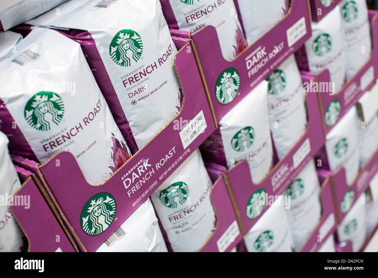 Starbucks packaged coffee on display at a Costco Wholesale Warehouse Club. - Stock Image