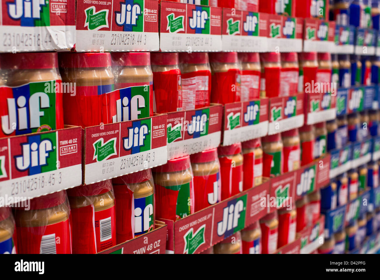 Jif peanut butter on display at a costco wholesale warehouse club jif peanut butter on display at a costco wholesale warehouse club stock photo 54151316 alamy thecheapjerseys Images