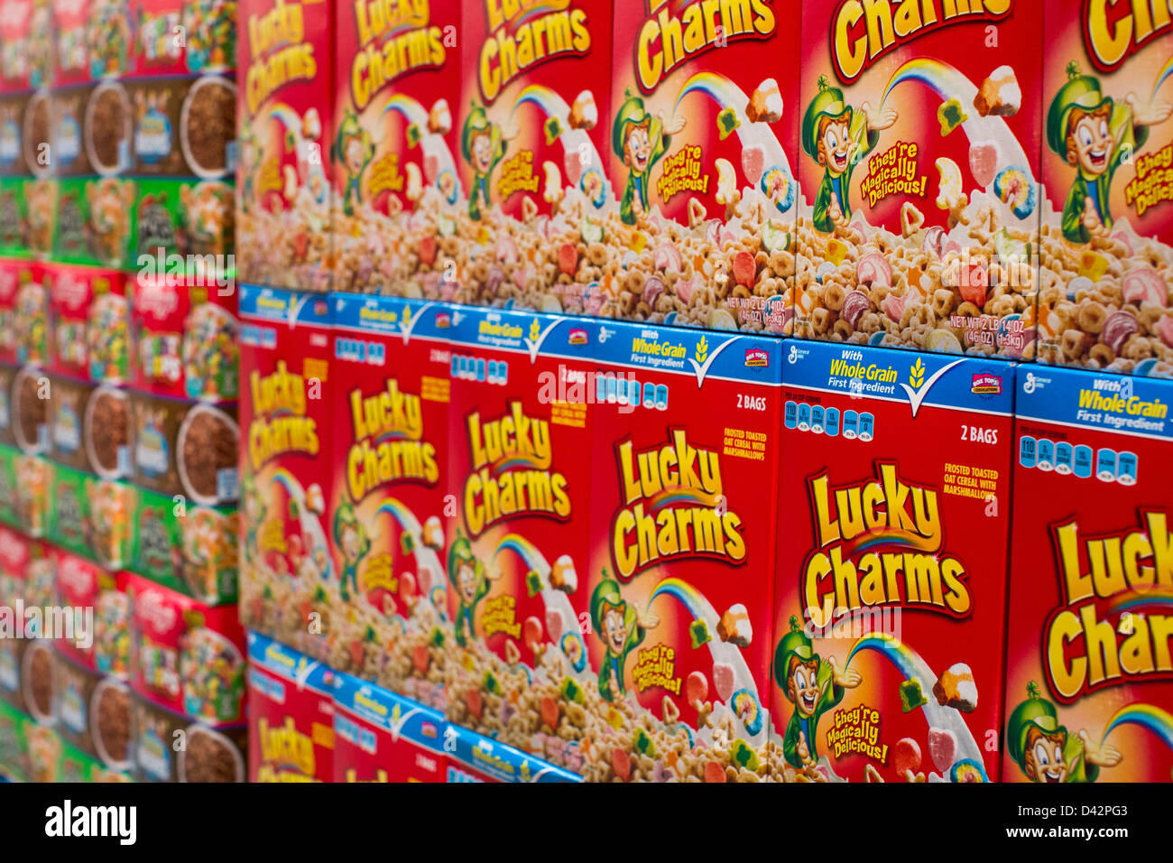 General Mills Lucky Charms cereal on display at a Costco Wholesale Warehouse Club. - Stock Image