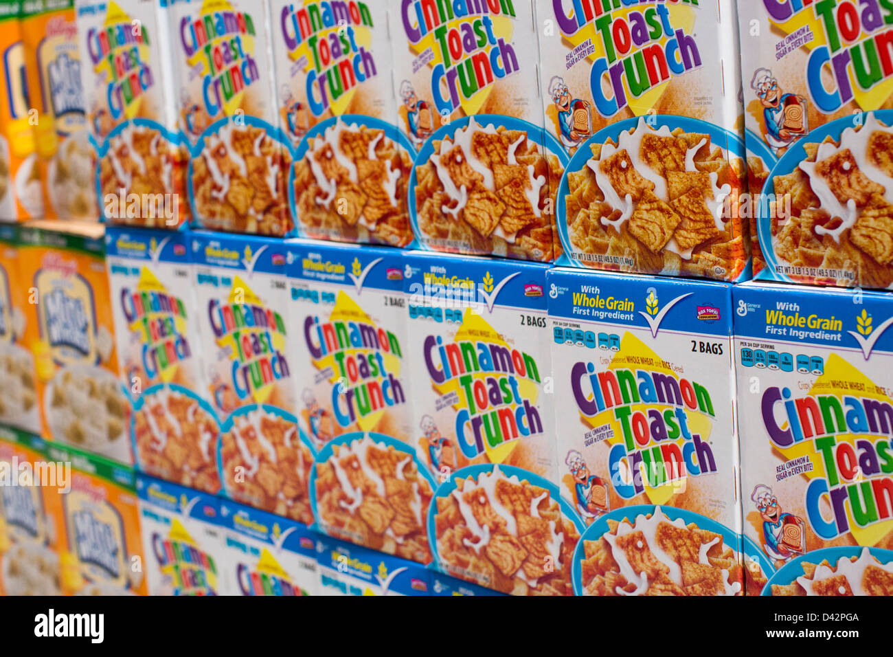 General Mills Cinnamon Toast Crunch cereal on display at a Costco Wholesale Warehouse Club. - Stock Image