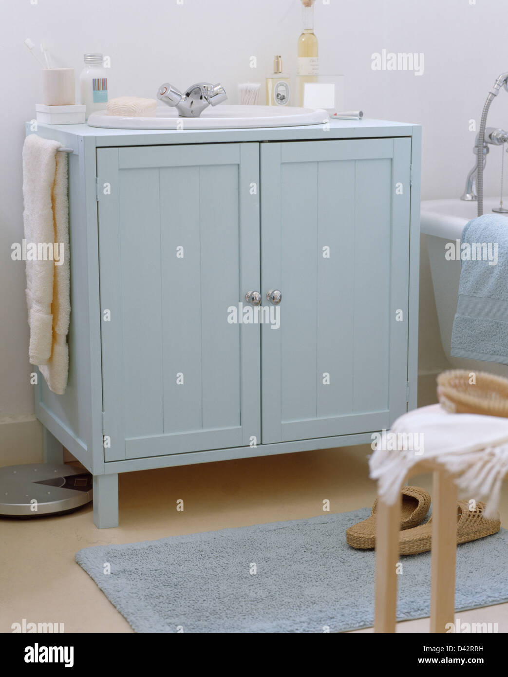 Pastel Blue Cupboard With Built In Basin In Simple White ...