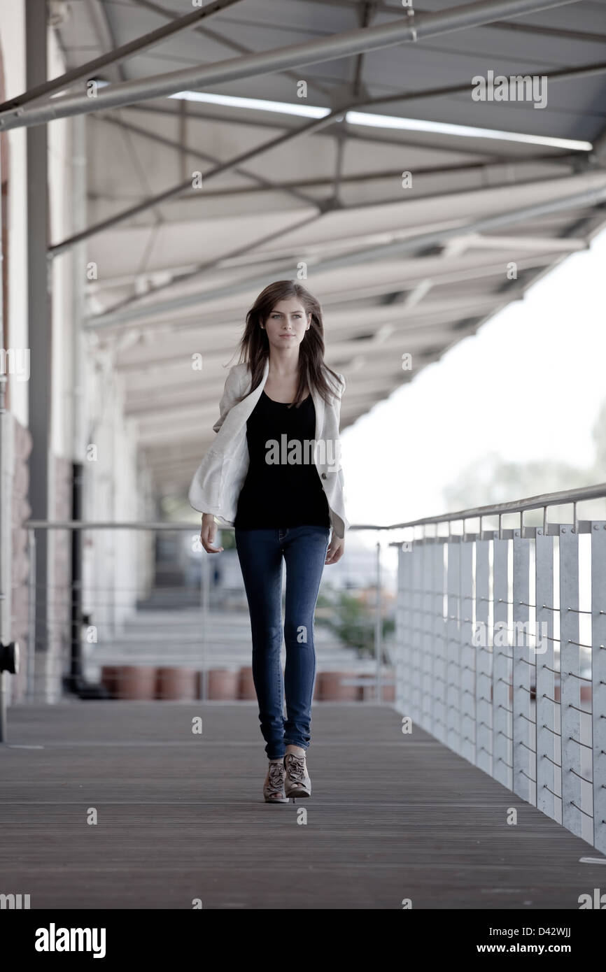 Freiburg, Germany, a girl while walking 16jaehriges - Stock Image