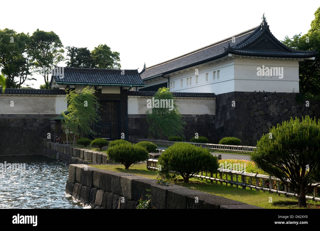 Old Edo Castle Otemon Gate and yagura guardhouse at outer moat, now the site of the Imperial Palace in the heart - Stock Image