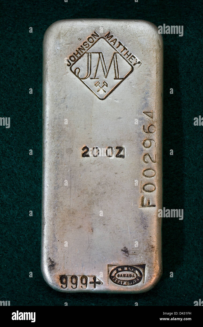 20 Ounce Silver Bullion Bar - Old Poured Ingot - Stock Image