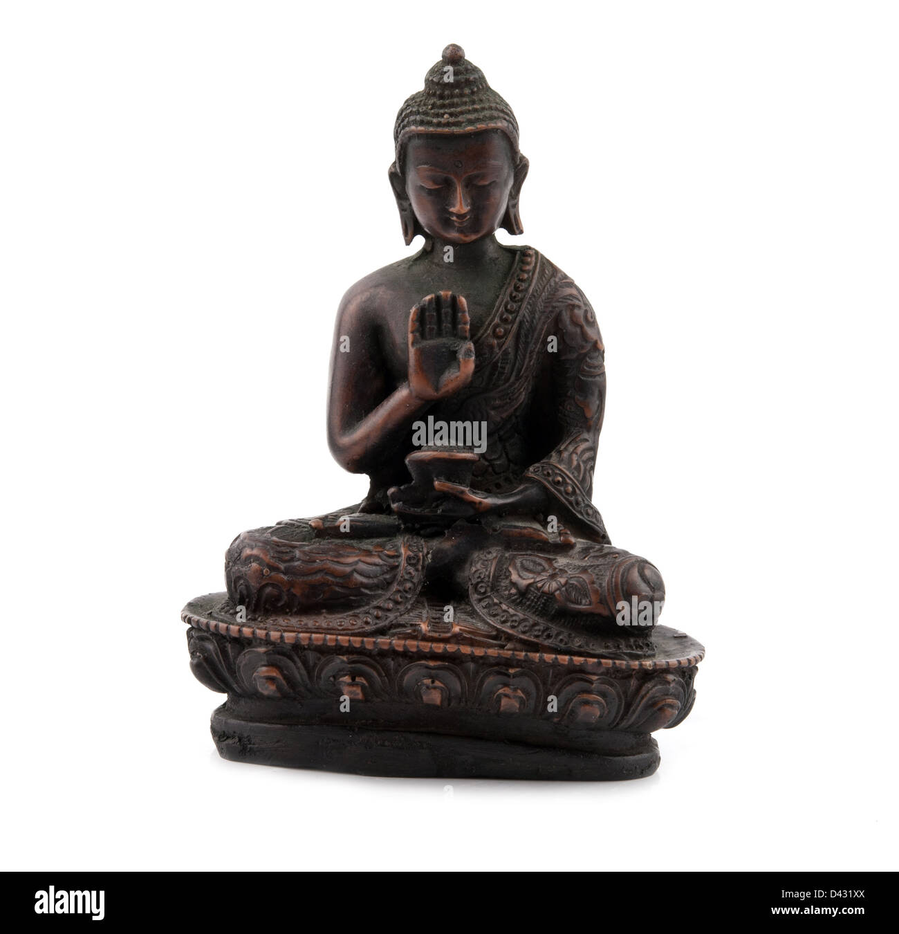 a bronze statuette of Buddha - Stock Image