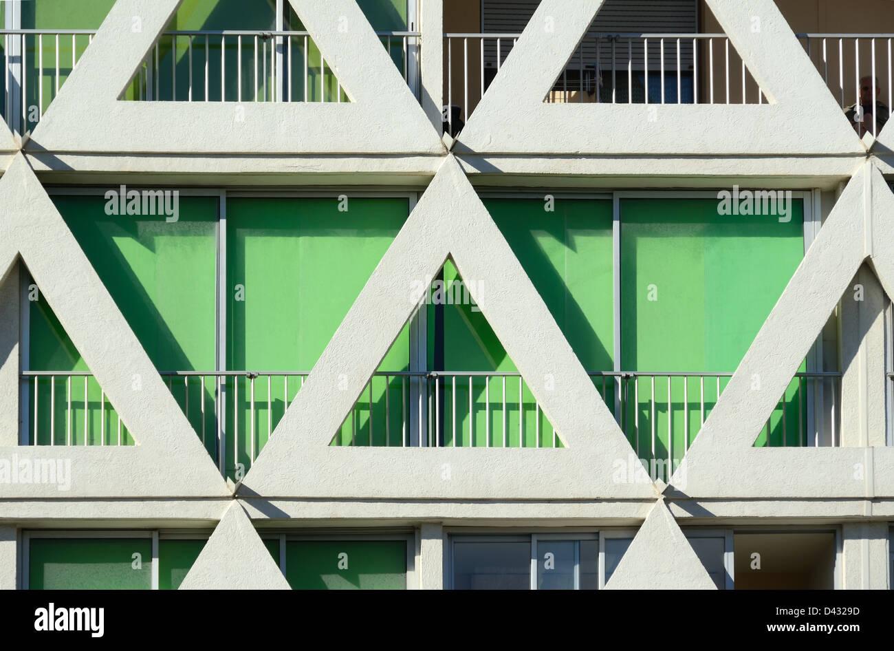 Triangles Triangular Facade La Grande-Motte - Stock Image