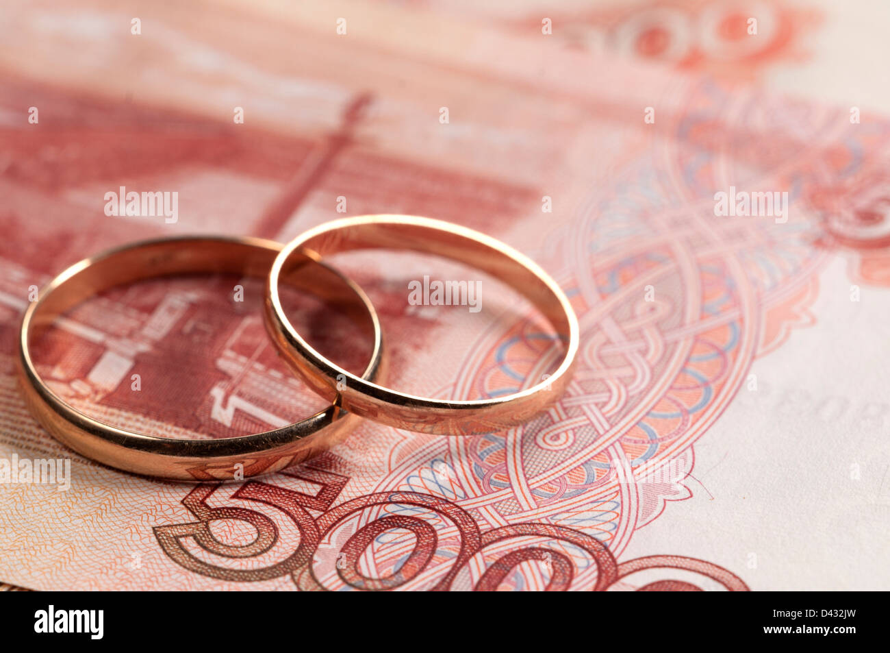 Wedding rings on money - marriage of convenience concept Stock Photo ...