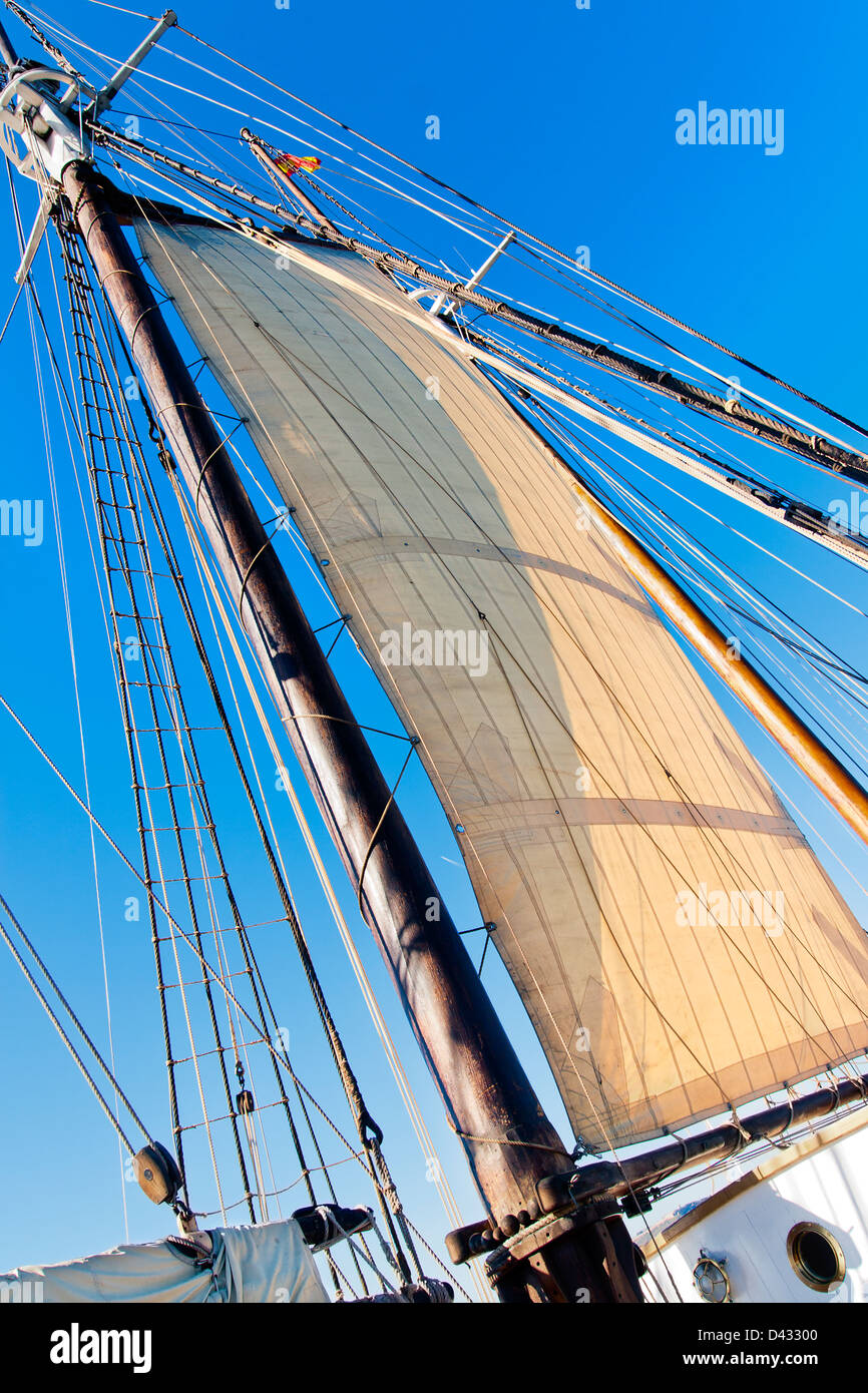 Old Schooner Mast, Sail and Ropes - Stock Image