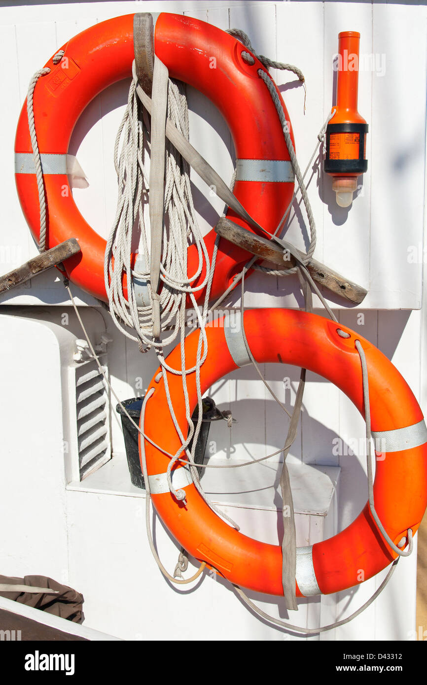 Life Buoy on a Sailing Vessel - Stock Image