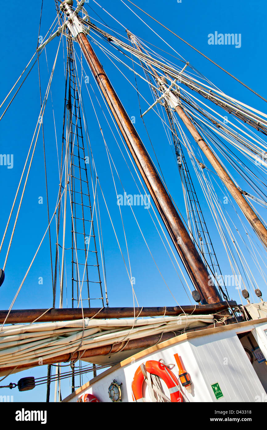 Old Schooner Mast and Ropes - Stock Image