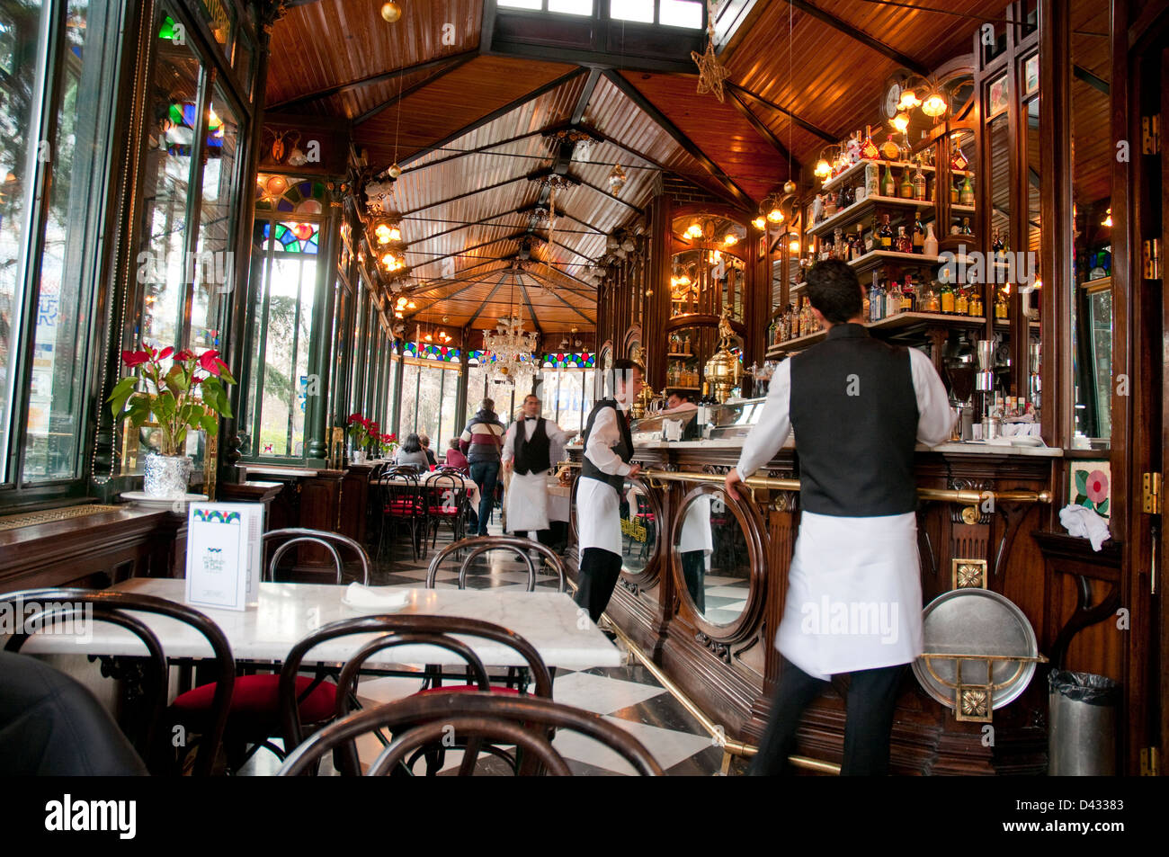 Waiters in a cafe. Madrid, Spain. - Stock Image