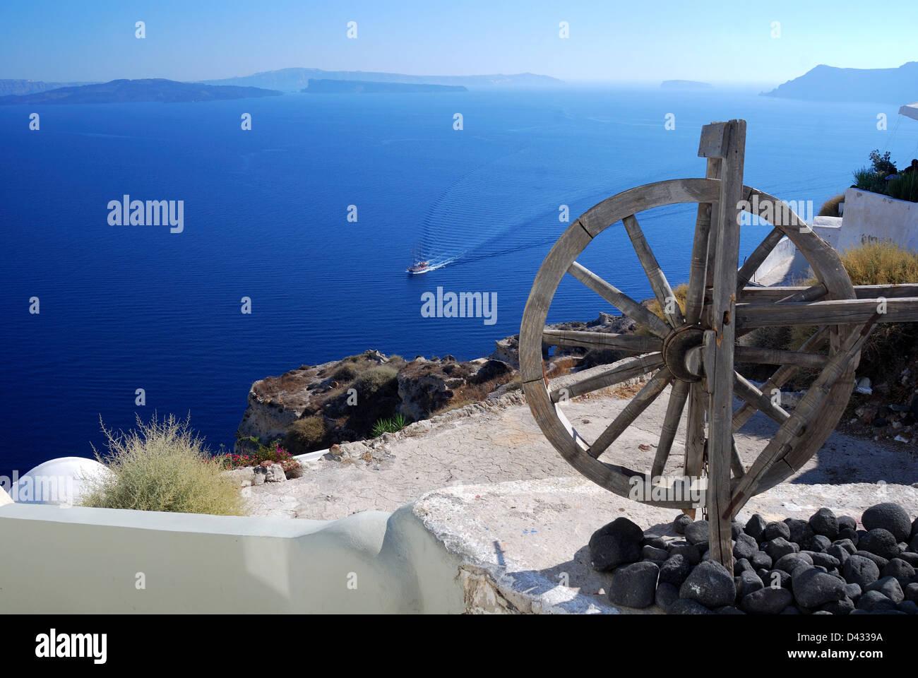 Landscape with caldera from Oia village, Santorini - Stock Image