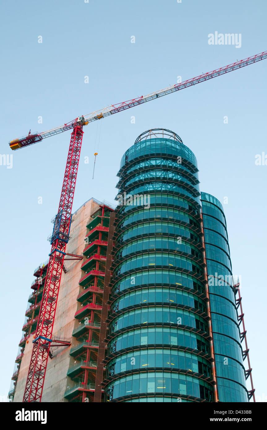 Titania Tower under construction. AZCA, Madrid, Spain. Stock Photo
