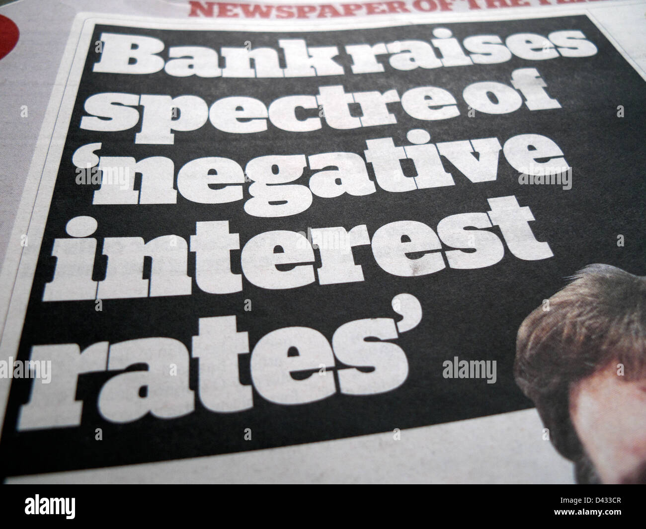 Bank raises spectre of 'negative interest rates' on front page i newspaper headlines in  27.02.2013 London - Stock Image