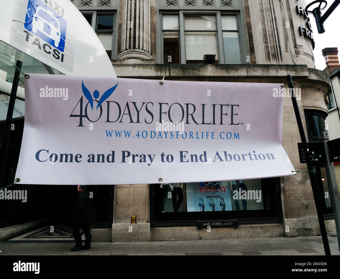 Anti abortion protest banner outside Howell's Department Store St. Mary Street Cardiff Wales UK February 2013 - Stock Image