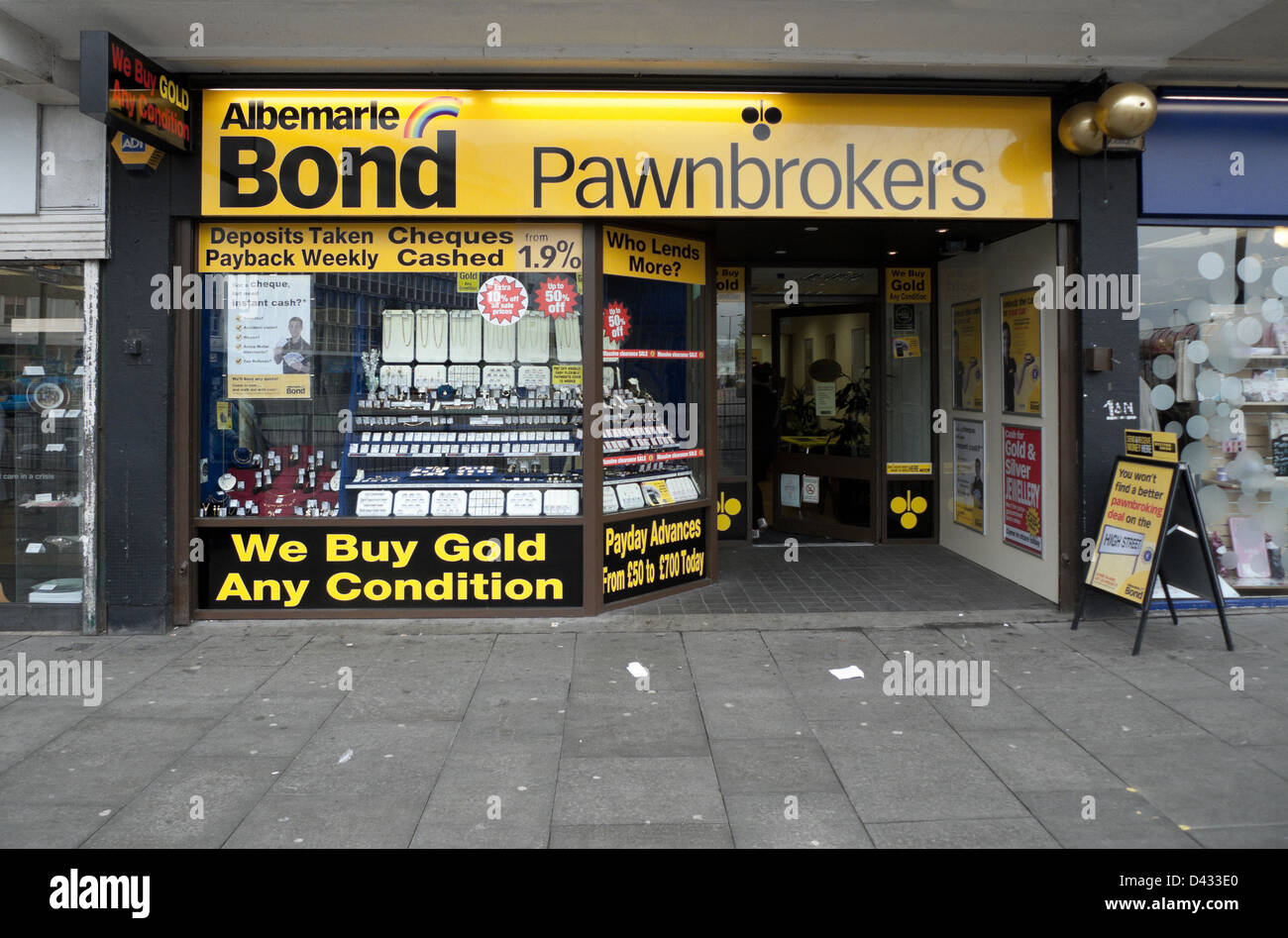 Albermarle Bond Pawnbrokers storefront with buying Gold sign Central Cardiff South Wales UK - Stock Image