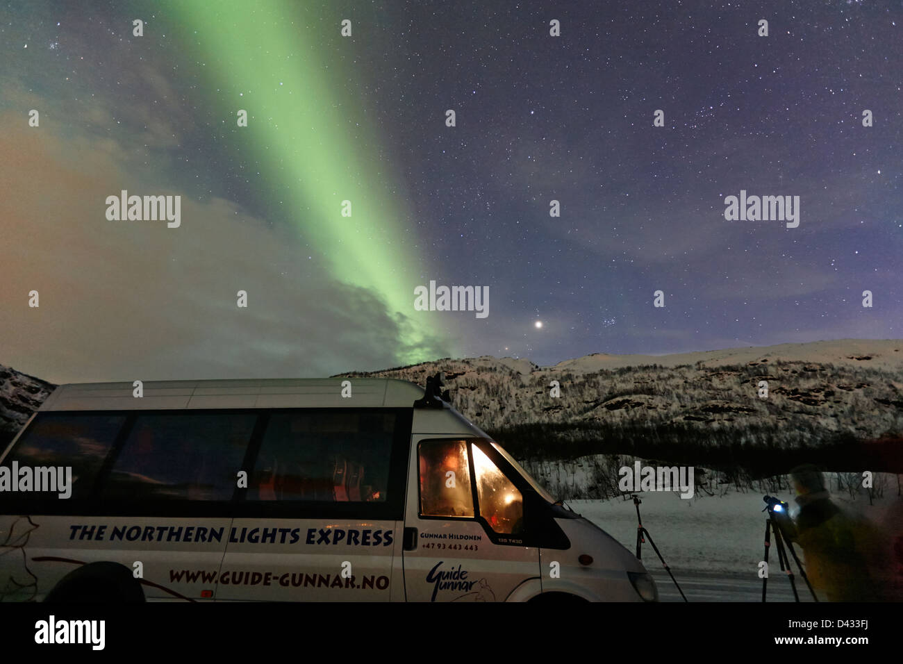 northern lights aurora borealis guided tour vehicle near tromso in northern norway europe - Stock Image