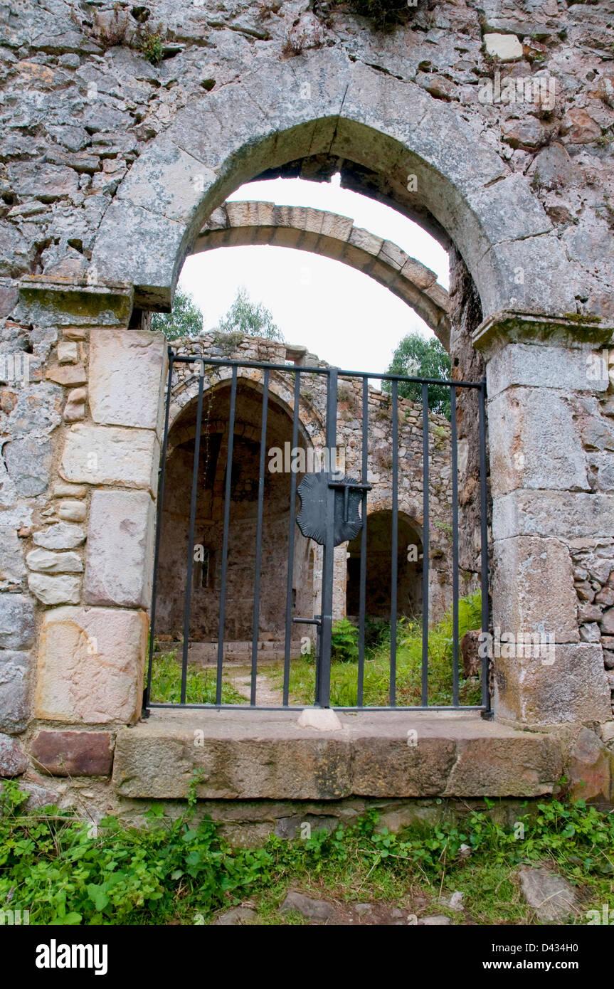 Ruins of Tina monastery. Pimiango, Asturias province, Spain. - Stock Image
