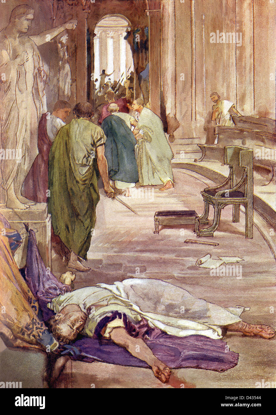 On March 15, 44 B.C., the Ides of March, Brutus, Cassius, and several other conspirators assassinated Julius Caesar. - Stock Image