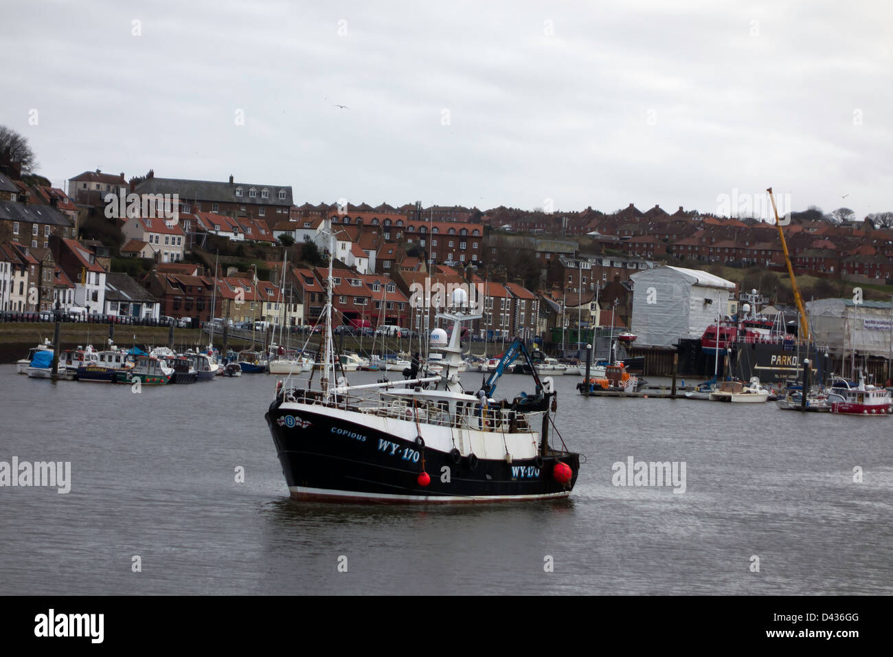 "A fishing trawler WY170 called ""Copious"" in Whitby Harbour waiting for the swing bridge to open giving access to Stock Photo"