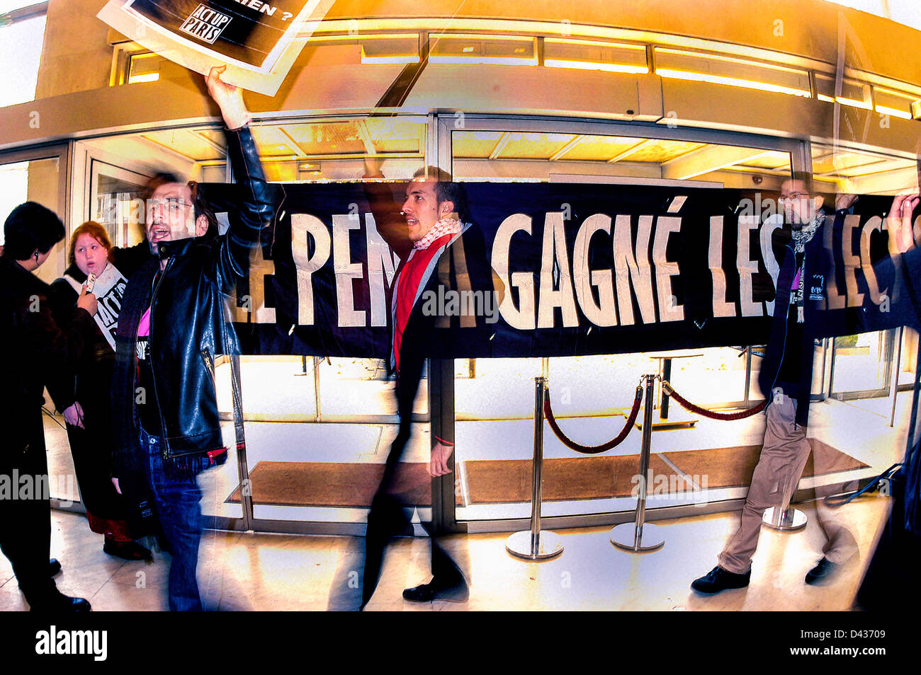 Paris, France,  AIDS Activists Protesting ACTION - ZAP OF THE N.G.O. FIGHTING AIDS, ACT UP PARIS, WHO OCCUPIED THE - Stock Image