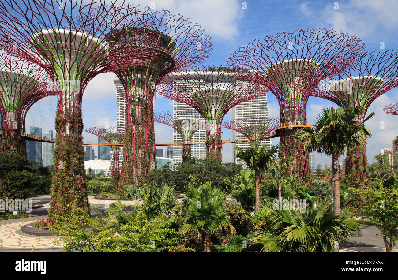 Singapore, Gardens By The Bay, Marina Bay Sands Resort,   Stock Image