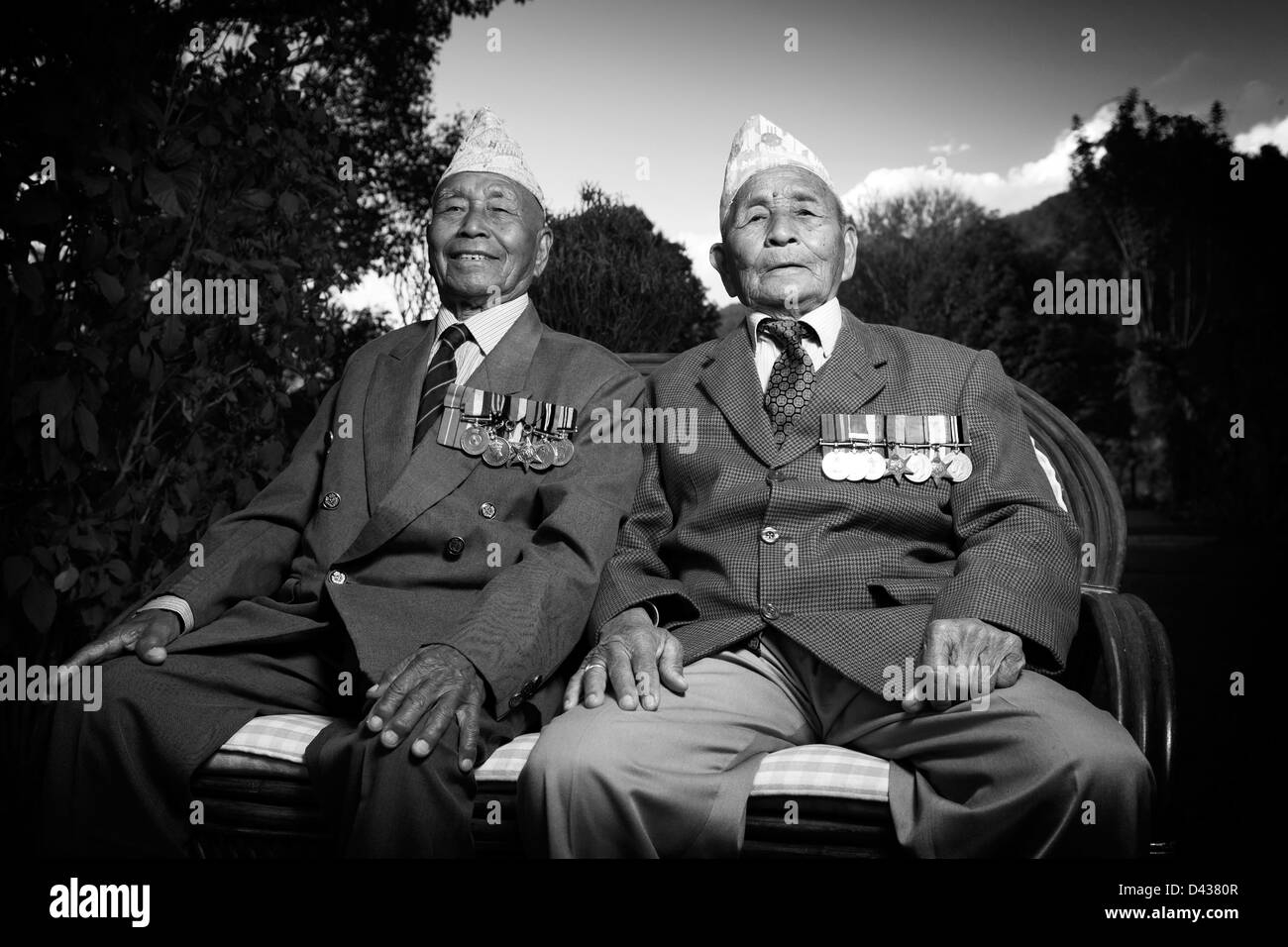 Two Gurkha brothers-in-Arms who served for the Brigade of Gurkhas in World War 2 - Stock Image