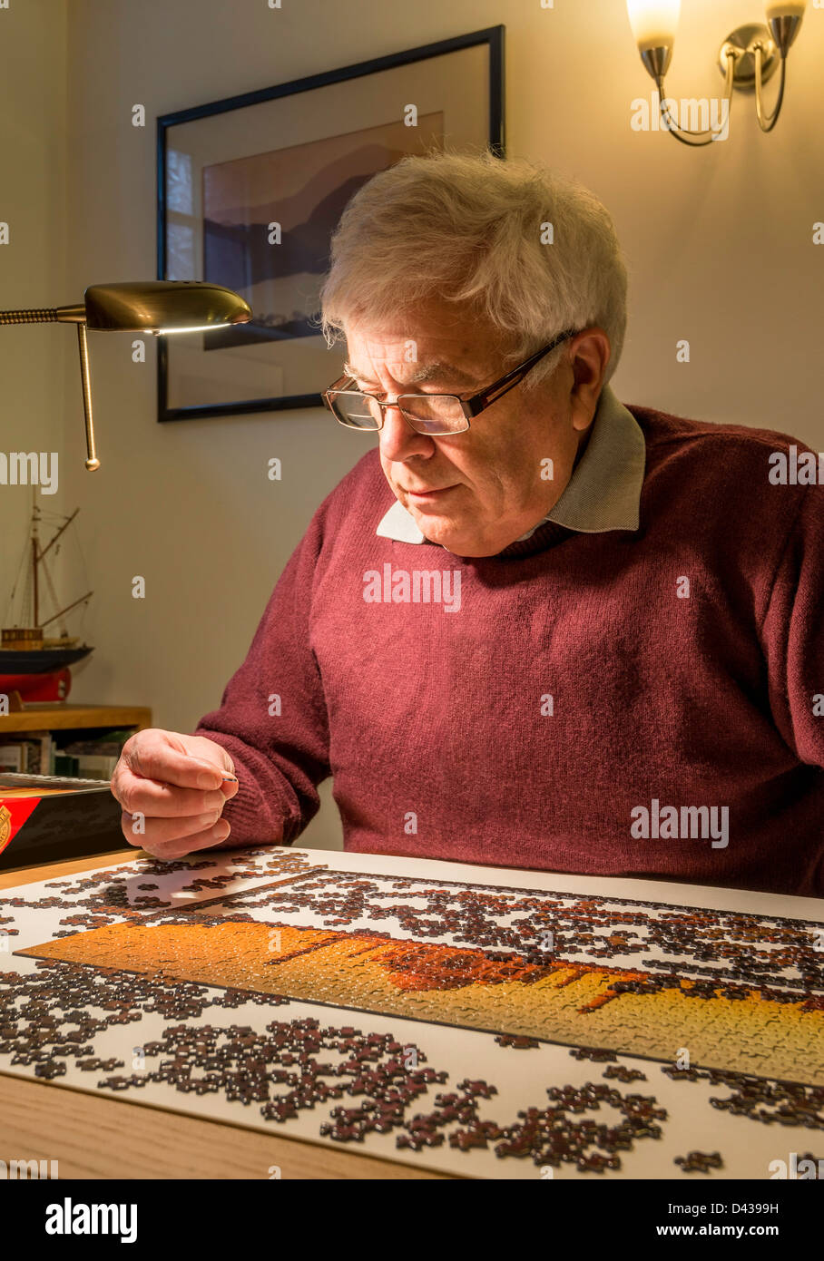 RETIRED MAN, OAP,  WITH JIGSAW - Stock Image