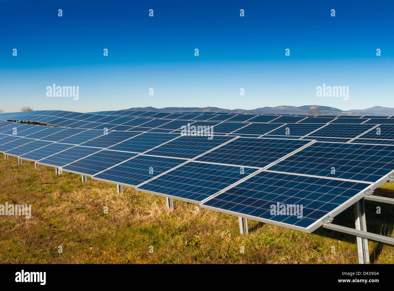 Electricity generating solar panel - Stock Image