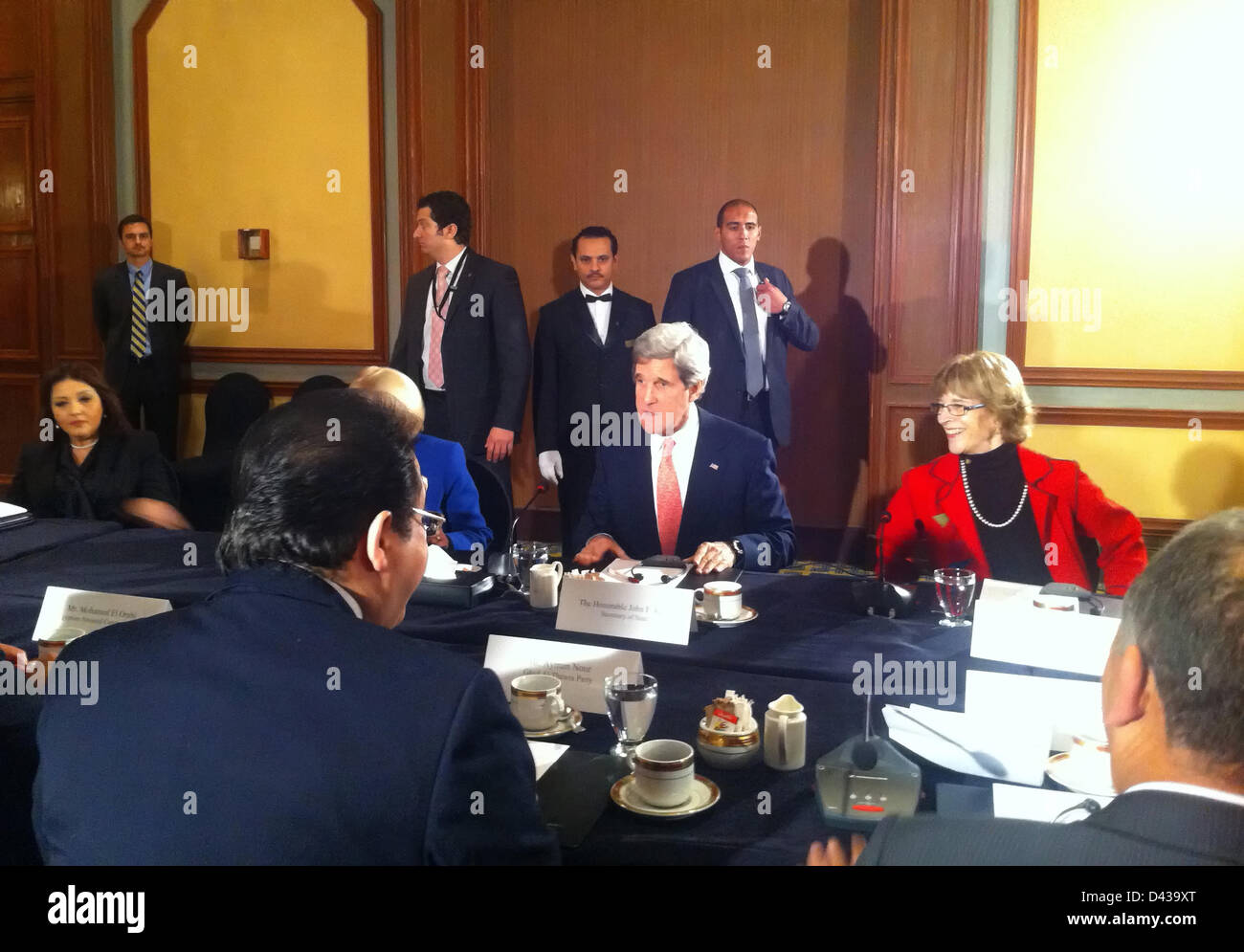 US Secretary of State John Kerry meets with opposition leaders March 3, 2013 in Cairo, Egypt. Kerry is on an 11 - Stock Image