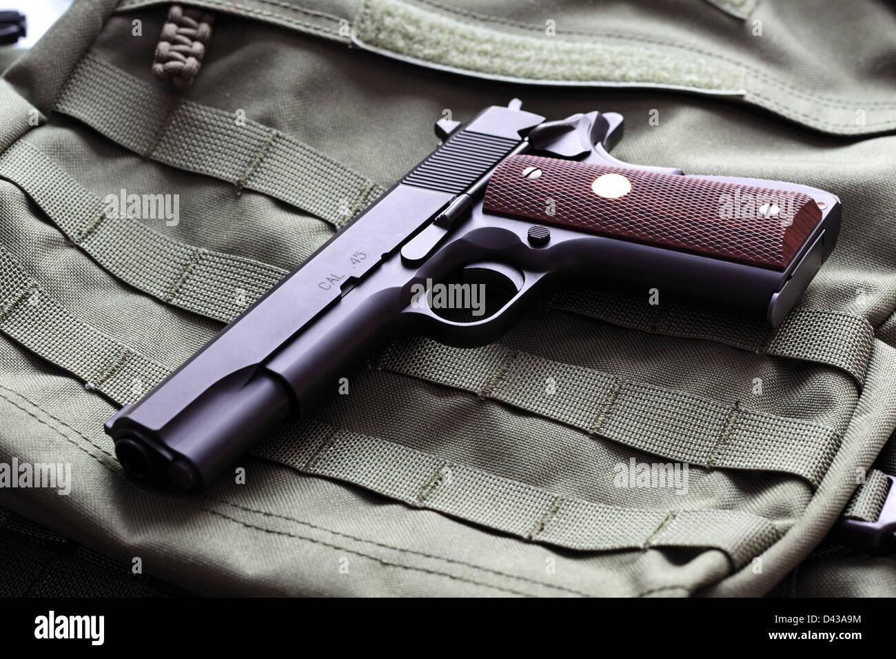 Semi-automatic Colt Mark IV Series 80 .45 caliber pistol - Stock Image