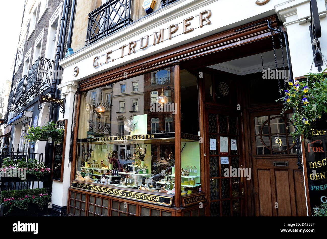 Facade of G.F.Trumper barber shop in Mayfair London Stock Photo