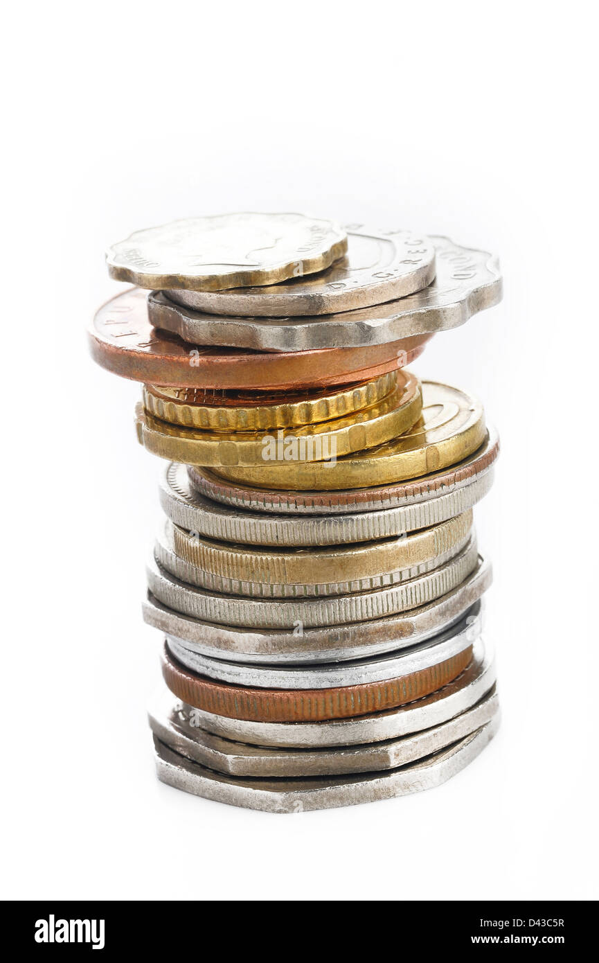 Old coins on white background - Stock Image