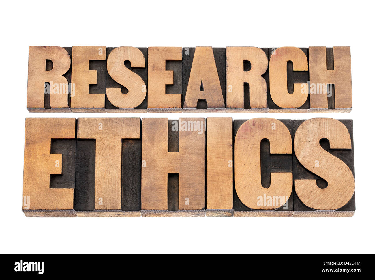 research ethics - isolated text in letterpress wood type printing blocks - Stock Image