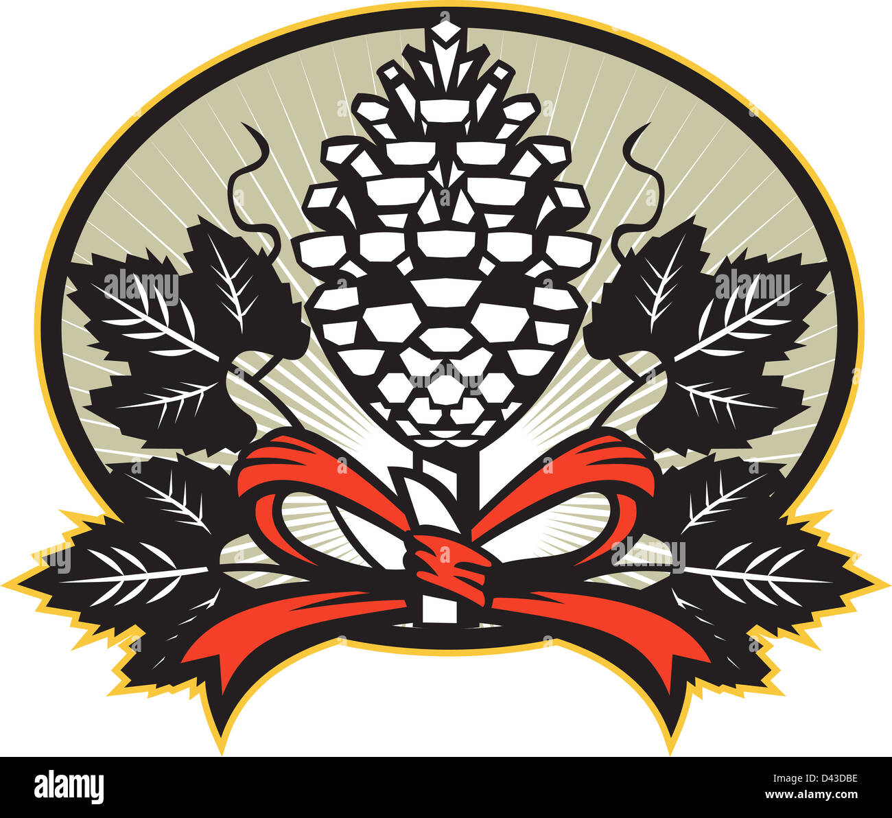 Illustration of a Thyrsus a staff of giant fennel topped with pine cone with grapevine leaves and ribbon set inside Stock Photo