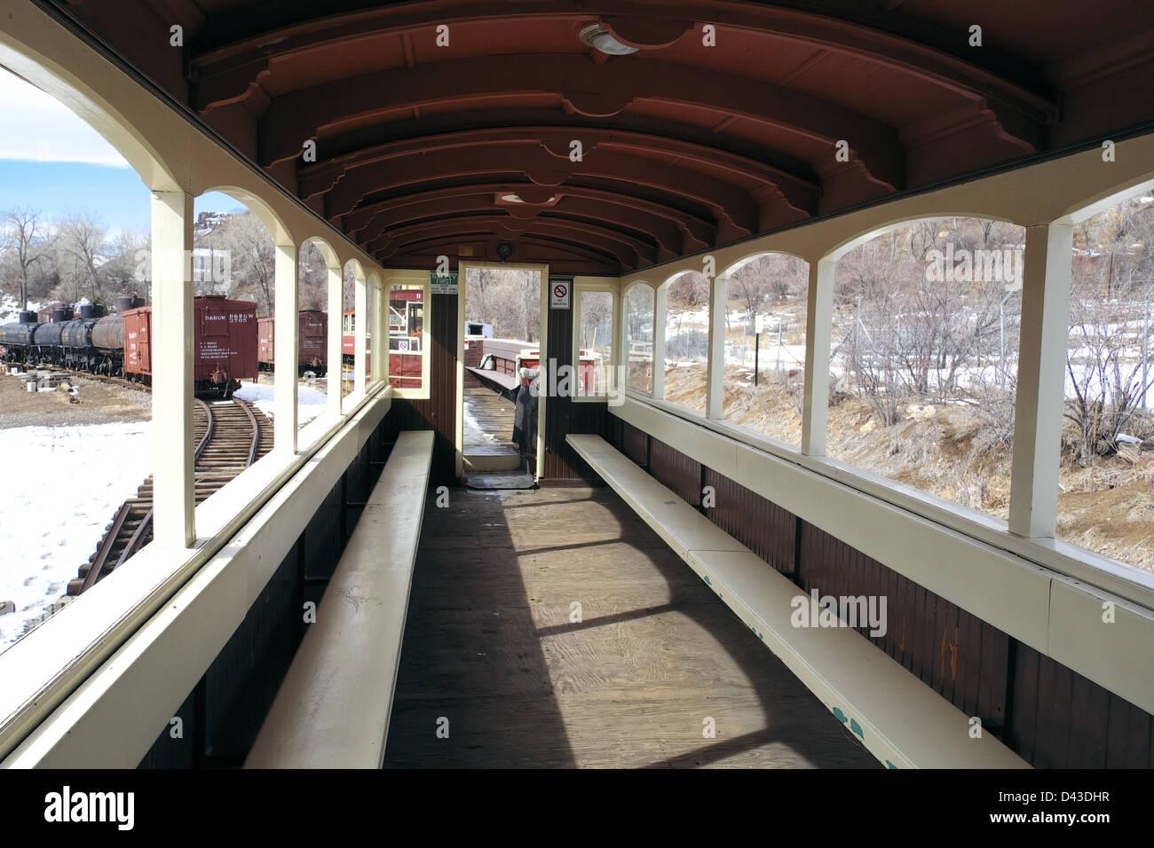A passenger car at the Colorado Railroad Museum - Stock Image