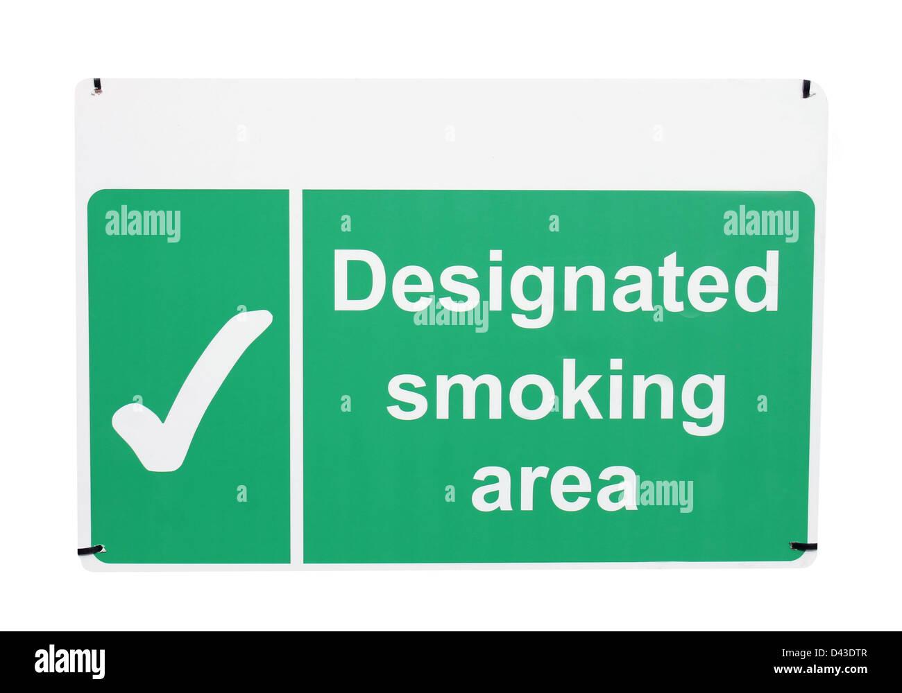 Designated smoking area sign isolated on white background. - Stock Image