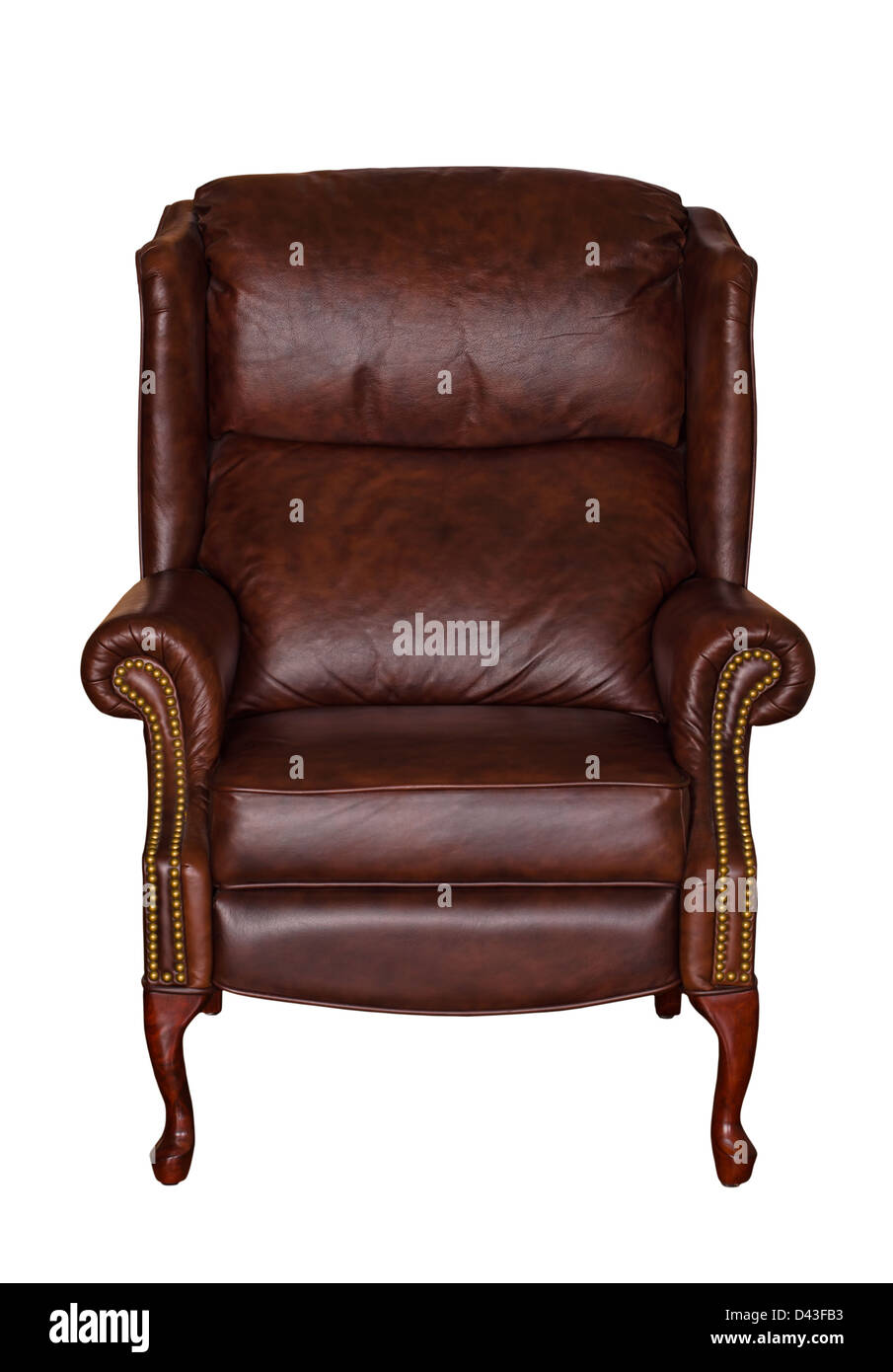 Brown Library Leather Chair Isolated Over White