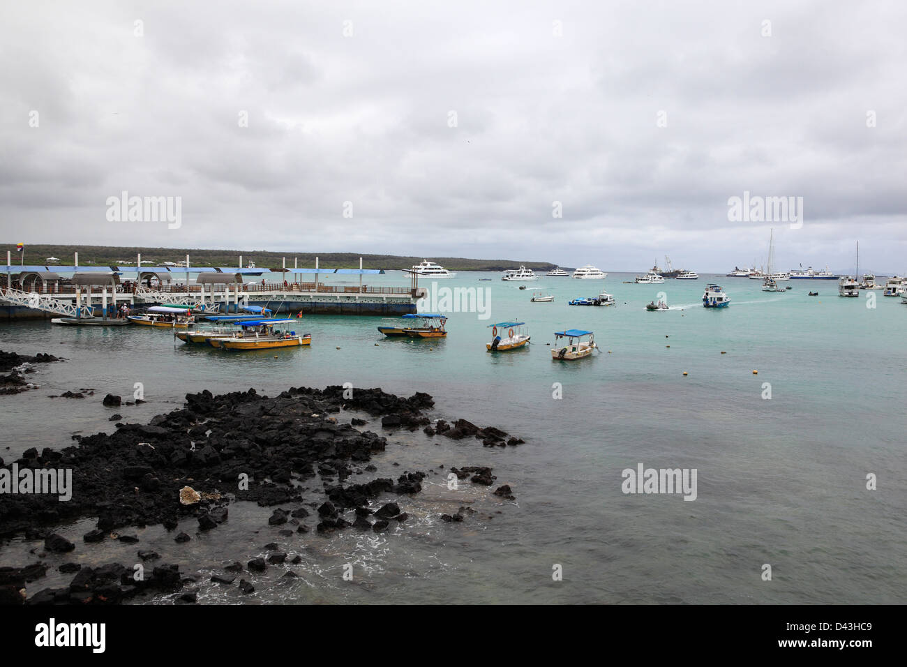 Harbor at Galapagos Islands, Ecuador - Stock Image