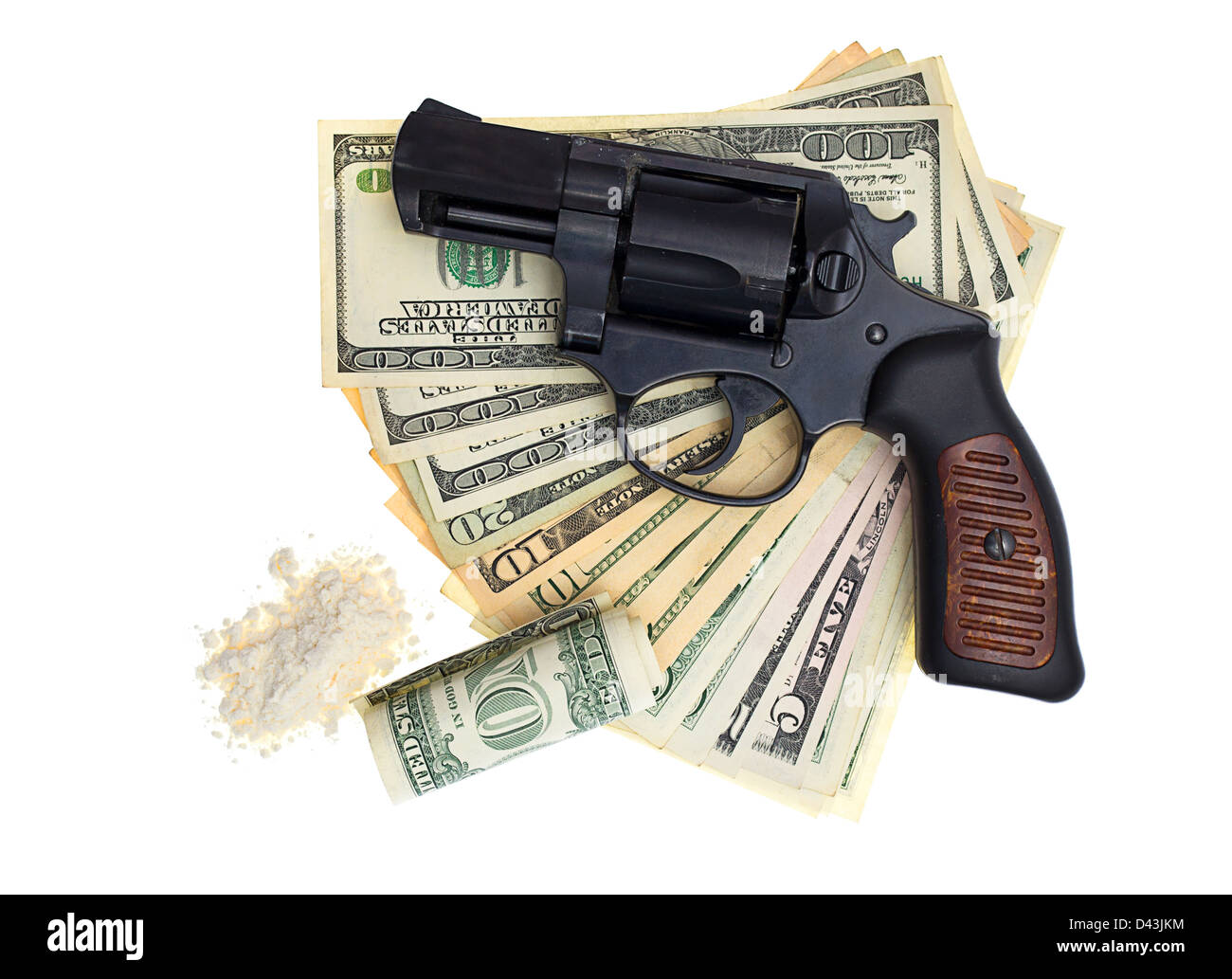 handcuffs, gun and money isolated on a white background Stock Photo