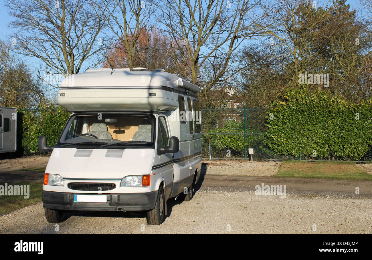 Mobile camper van parked in countryside - Stock Image