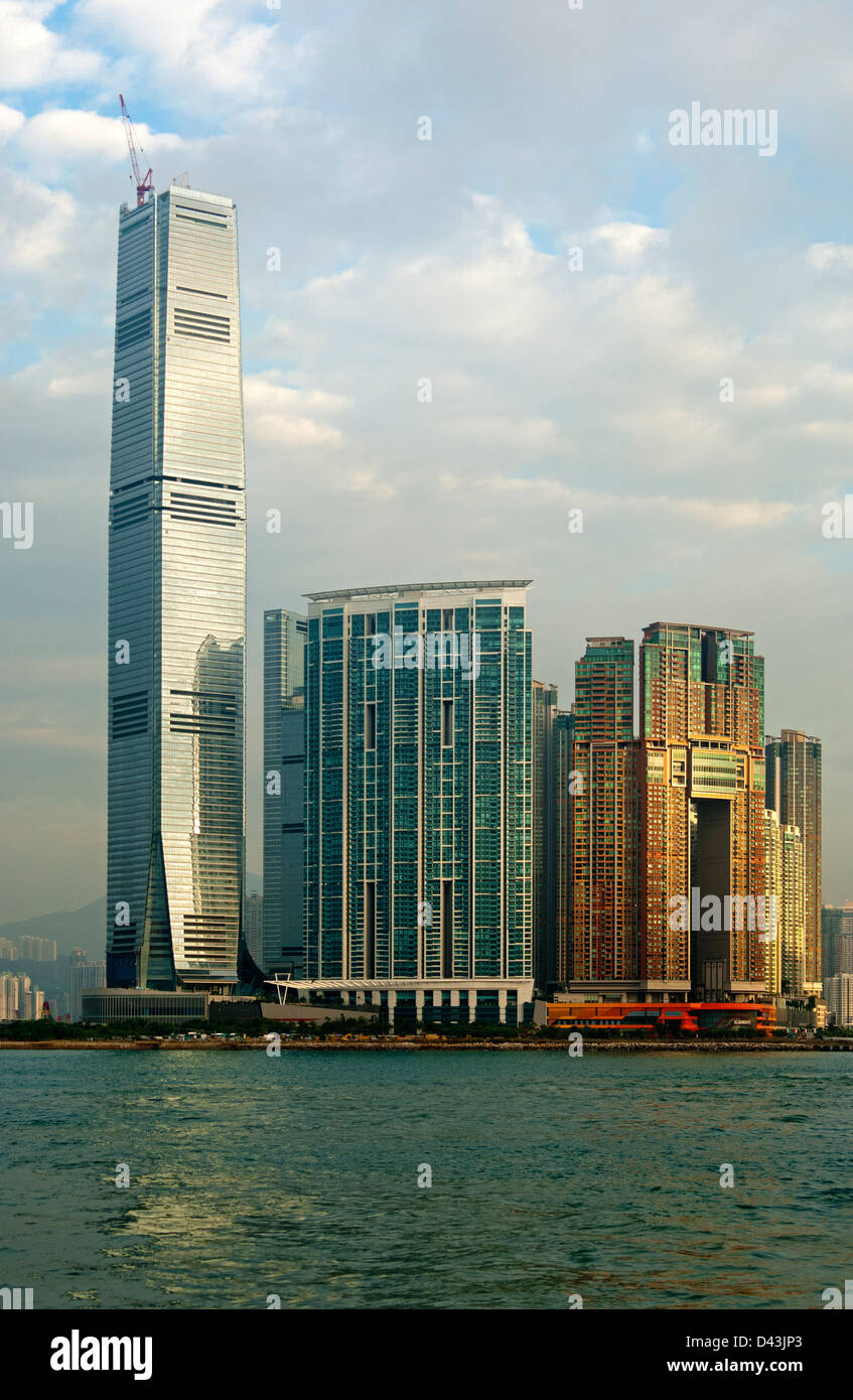 The International Commerce Centre, ICC Tower, and the Union Square development, Kowloon, Hong Kong - Stock Image