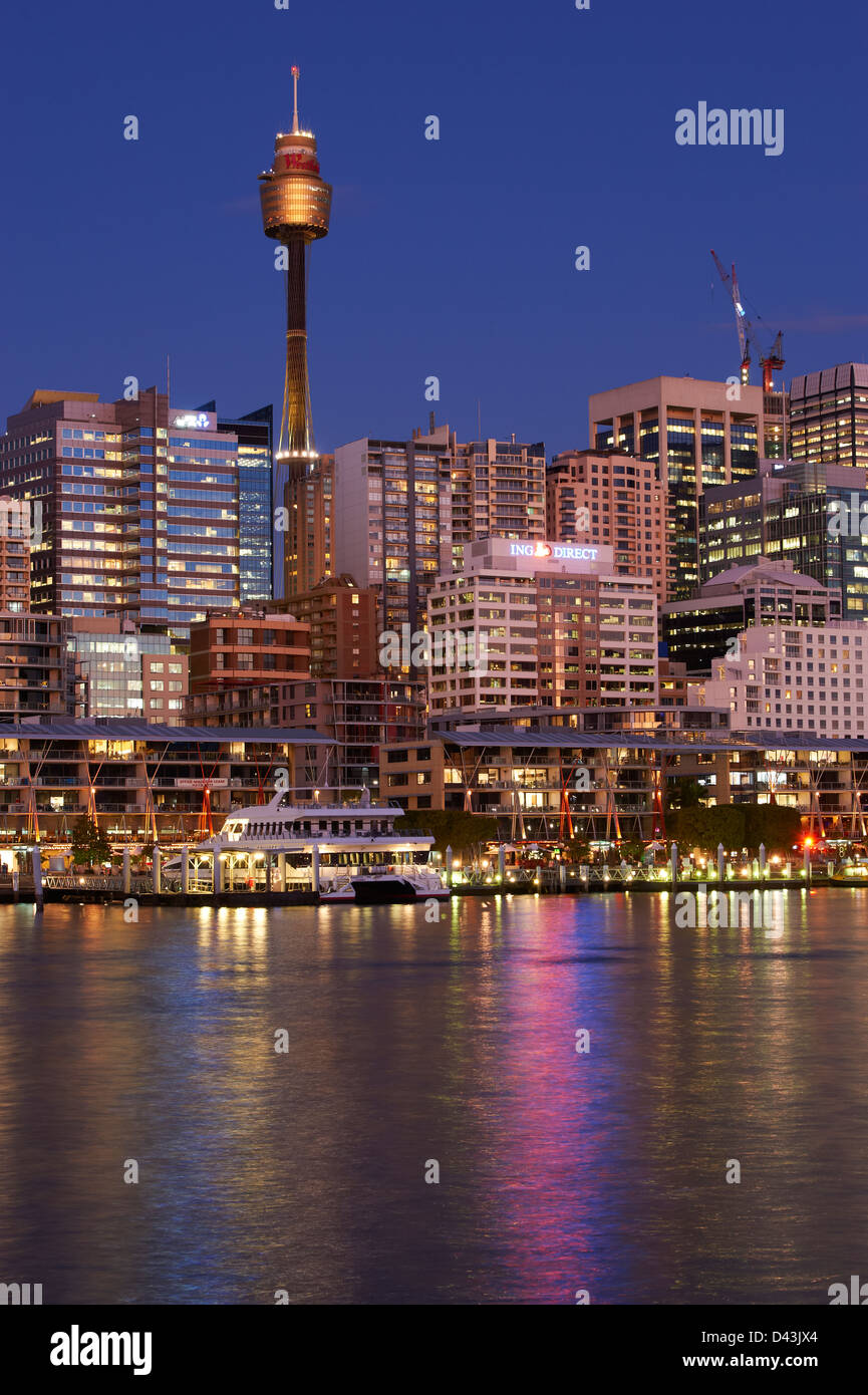 Darling Harbour Sydney at dusk Stock Photo