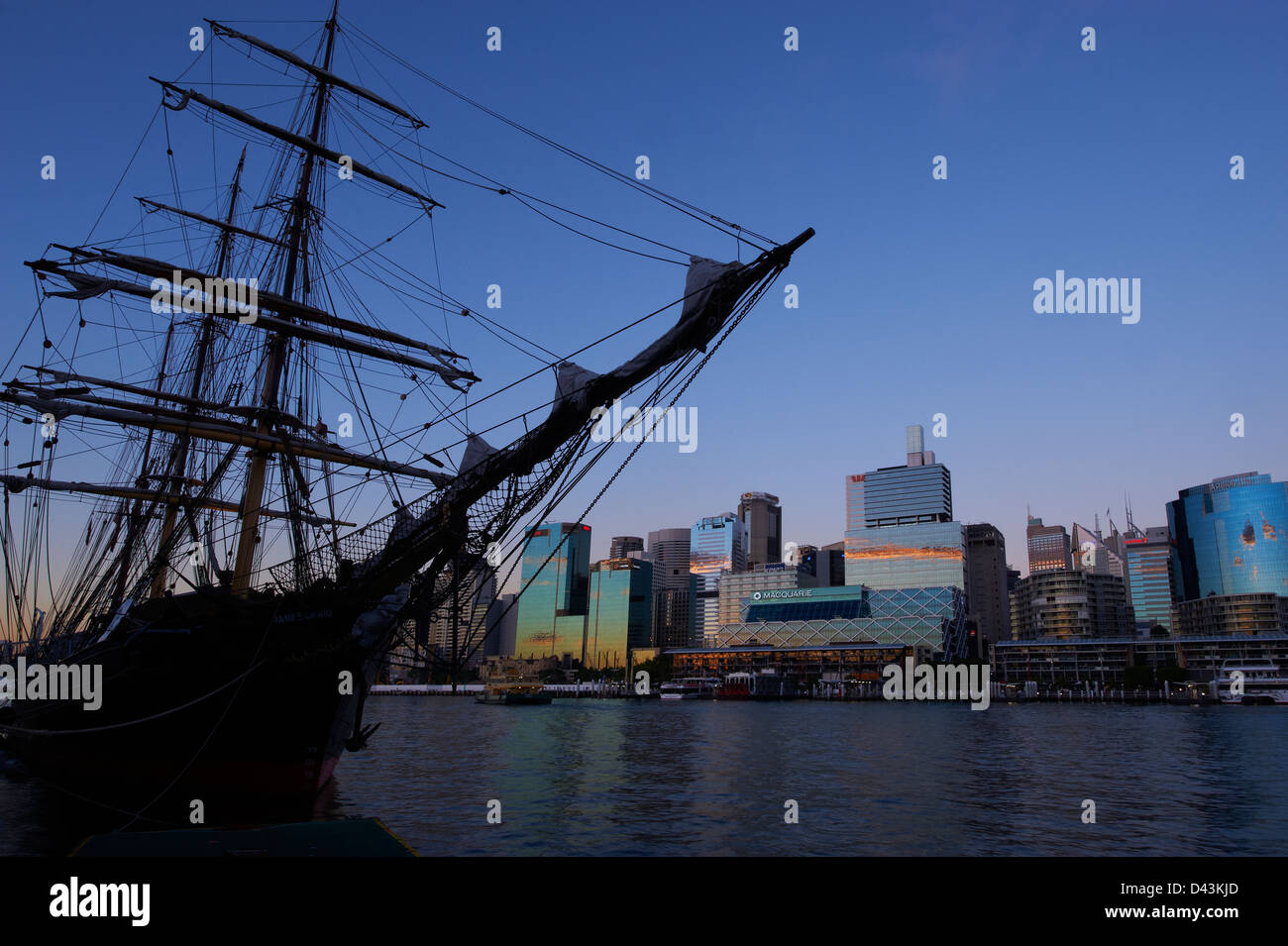 The Tall Ship James Craig moored in Darling Harbour Sydney Australia - Stock Image