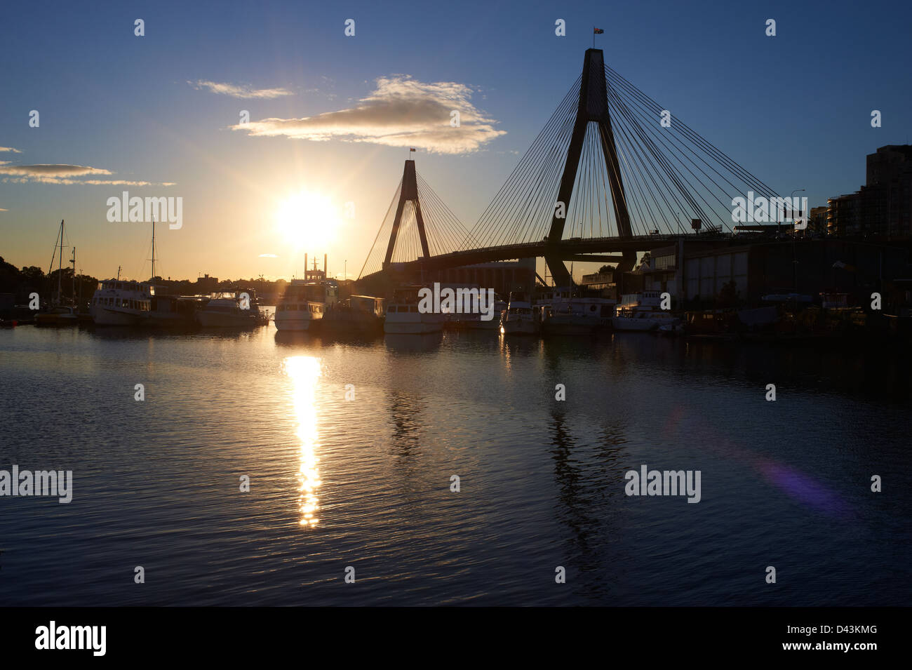 Glebe Island Bridge & Johnstons Bay, Pyrmont Sydney at sunset Stock Photo