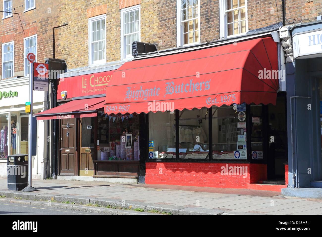 Traditional butchers shop in Highgate village, in north London, UK Stock Photo