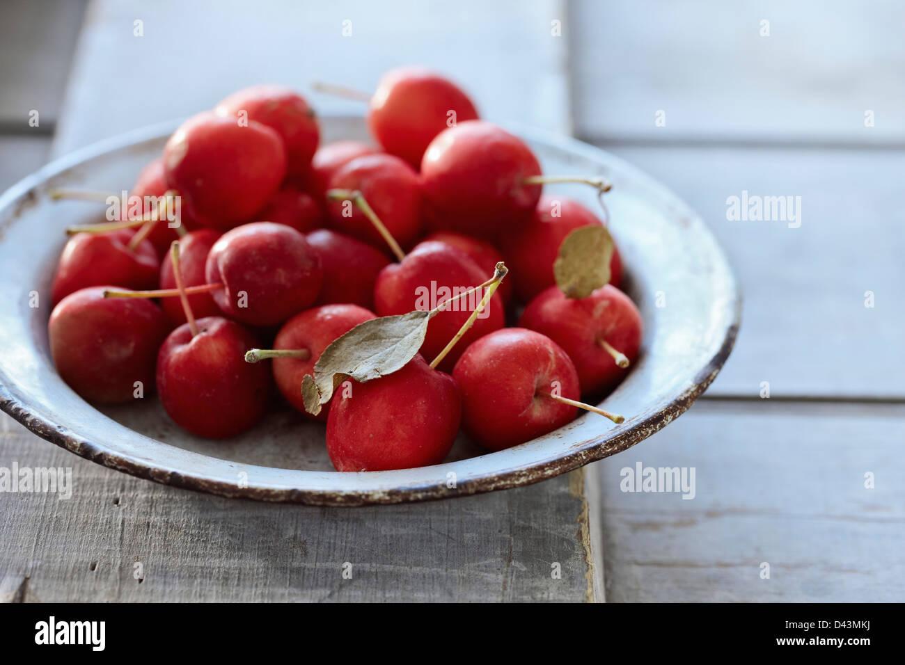 Bowl of Crabapples Stock Photo
