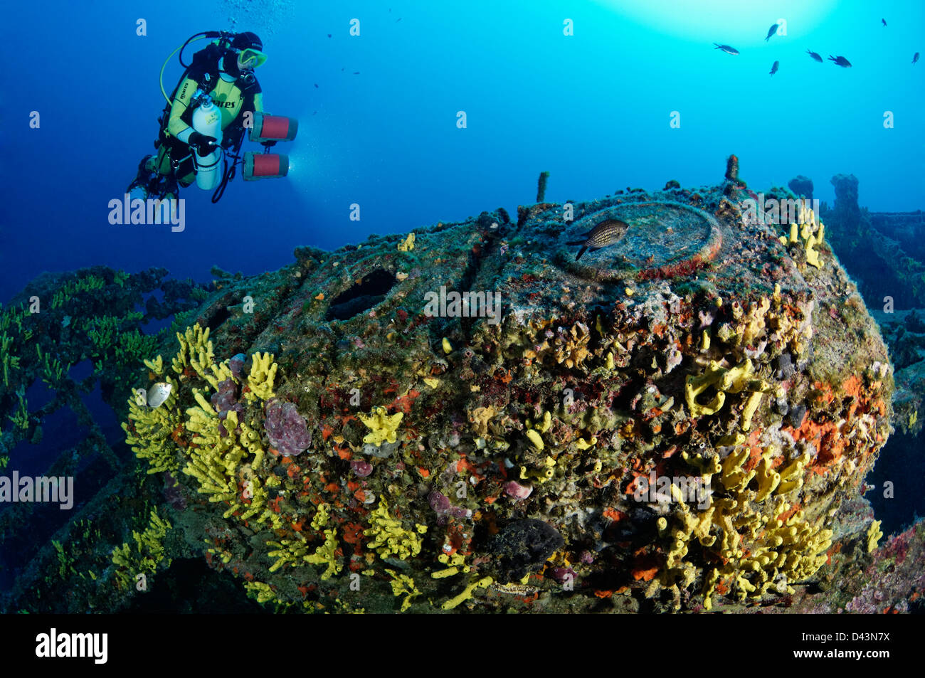 scuba diver and shipwreck Francesca de Rimini and machine room door Island Kaprije Sibenik Vodice Croatia  Mediterranean - Stock Image