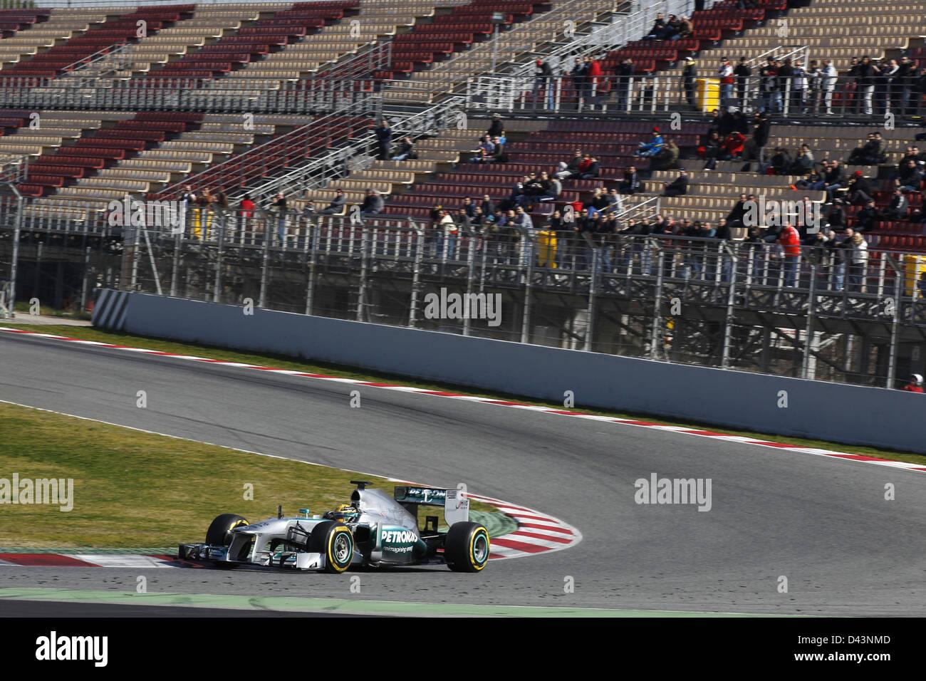 Motorsports: FIA Formula One World Championship 2013, Tests in Barcelona, Lewis Hamilton (GER, Mercedes AMG Petronas - Stock Image